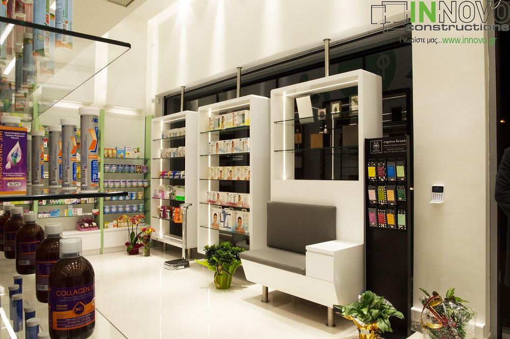 Κατασκευή ραφιών φαρμακείου Αργυρούπολη εσωτερικά